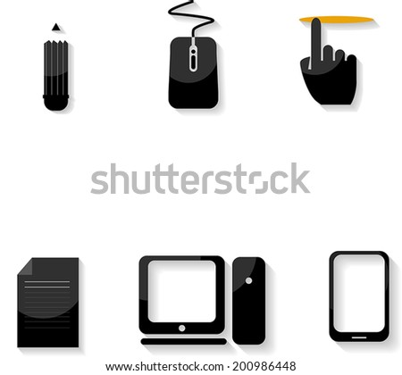 Vector Evolution Computer and technology icon set - stock vector