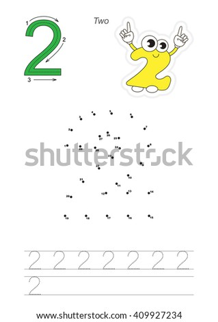 Vector exercise illustrated alphabet. Learn handwriting. Connect dots by numbers. Tracing worksheet for figure Two - stock vector