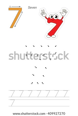 Vector exercise illustrated alphabet. Learn handwriting. Connect dots by numbers. Tracing worksheet for figure Seven - stock vector