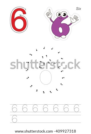 Vector exercise illustrated alphabet. Learn handwriting. Connect dots by numbers. Tracing worksheet for figure Six - stock vector