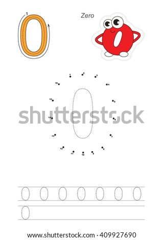 Vector exercise illustrated alphabet. Learn handwriting. Connect dots by numbers. Tracing worksheet for figure Zero. Figures and fingers. - stock vector