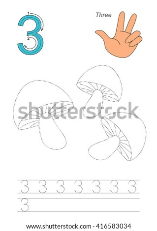 Vector exercise illustrated alphabet. Learn handwriting. Page to be traced. Complete english alphabet. Tracing worksheet for figure Three - stock vector