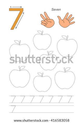 Vector exercise illustrated alphabet. Learn handwriting. Page to be traced. Complete english alphabet. Tracing worksheet for figure Seven - stock vector