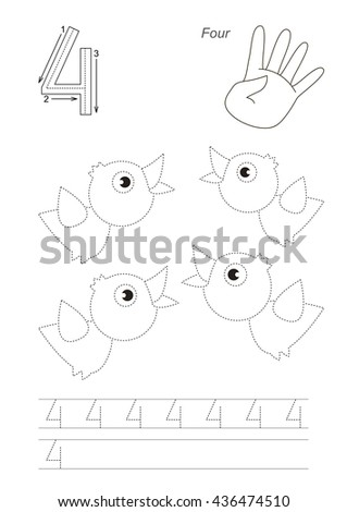Vector exercise illustrated Figures from Zero to Twelve. Learn handwriting. Kid tracing game. Education and gaming. Page to be traced. Tracing worksheet for figure 4. - stock vector