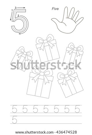 Vector exercise illustrated Figures from Zero to Twelve. Learn handwriting. Kid tracing game. Education and gaming. Page to be traced. Tracing worksheet for figure 5. - stock vector