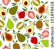 Vector exotic fruits pattern - stock vector