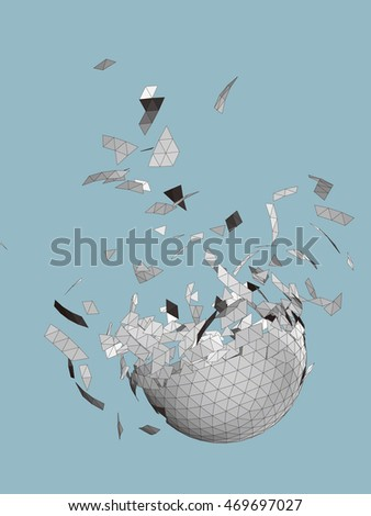 vector exploding sphere shape with fragments,including reverse side.