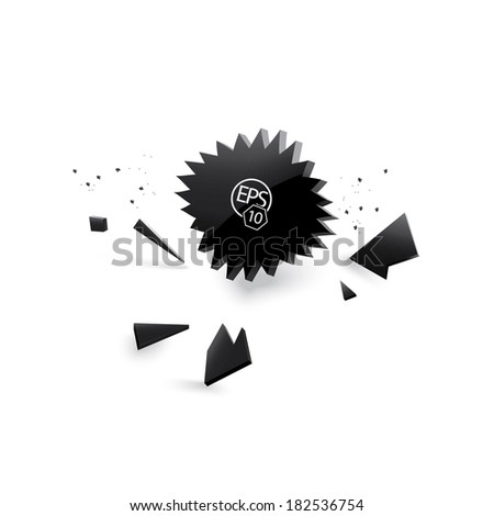Vector explosion design. text  box illustration with fragments - stock vector
