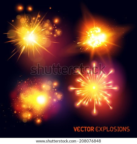 Vector Explosions - collection of fireballs and special effect explosions. Vector illustration. - stock vector