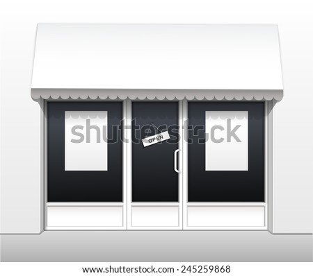 Vector Exterior of Restaurant Cafe Shop Front with Big Window and Place for Name - stock vector
