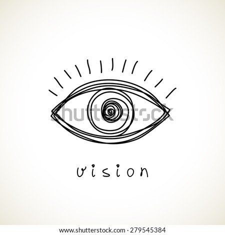 Vector eye icon. Hand drawn logo design template. Simple illustration for print, web - stock vector
