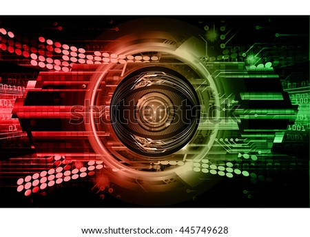 vector eyeball future technology, security concept background, Dark red green cyber Light Abstract background for computer graphic website internet. circuit. illustration. infographics. motion move - stock vector