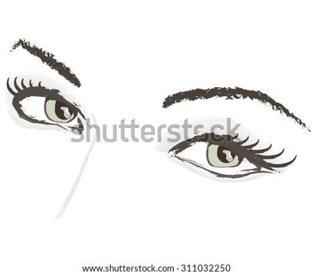 vector eyes lashes eyebrows  illustration portrait - stock vector