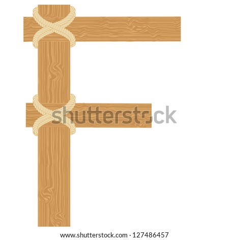 "Vector ""F"" letter of wood pattern tightened with rope alphabet"