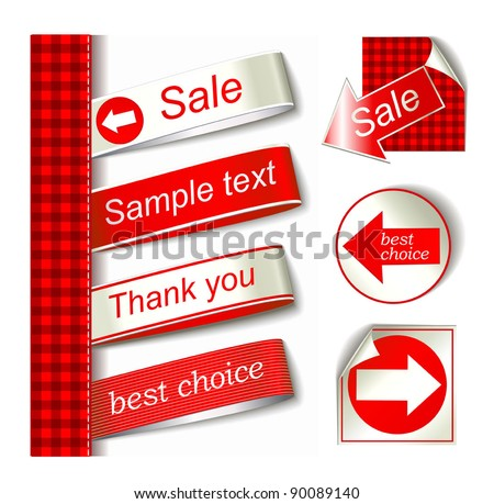 Vector Fabric Tag Label - stock vector