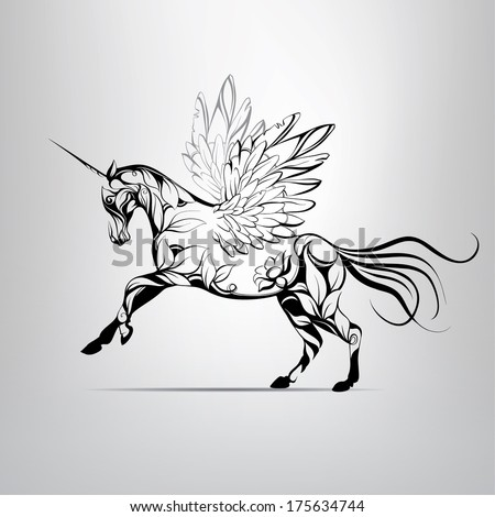 Vector fabulous unicorn with floral ornaments - stock vector
