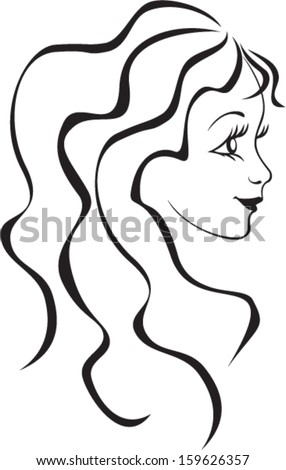 vector face illustration of beautiful woman