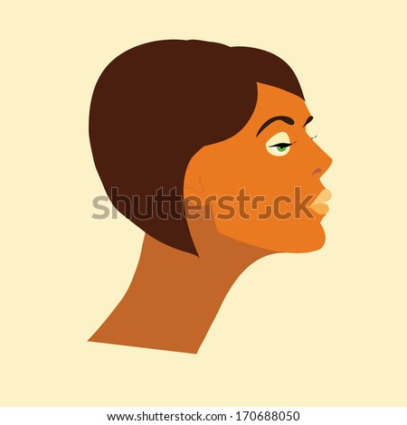 vector face of a young woman from side