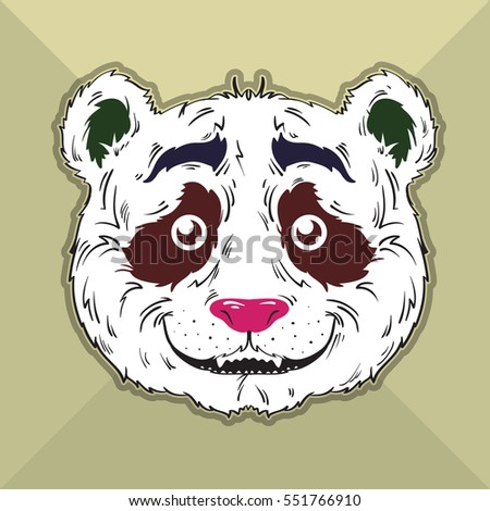 Vector face of beautiful and funny panda.