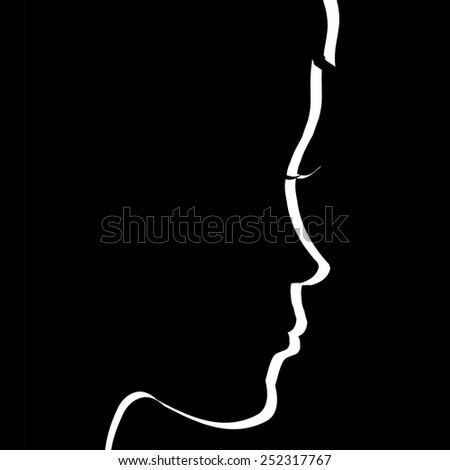 Vector face profile on a black background.