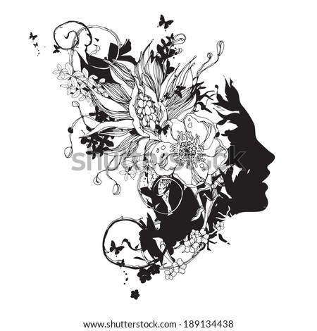Vector face with flowers black and white - stock vector