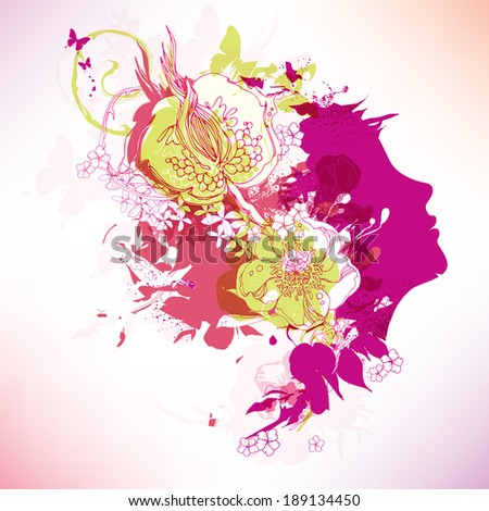 Vector face with flowers eps10 - stock vector