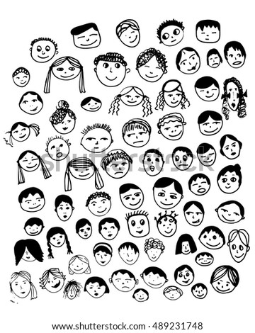 Set Vector Faces Hand Made Doodle Stock Vector 530269309 ...