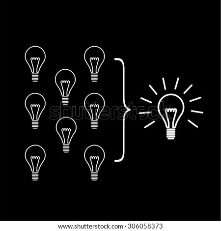 Vector facilitating skills icon of creating one big idea from many small ideas | modern flat design soft skills linear illustration and infographic white on black background