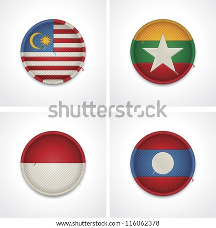 Vector fags of countries as fabric badges icon set. Includes Indonesia, Malaysia, Myanmar (Burma) and  Laos flags
