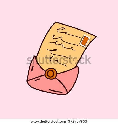 Vector fairy tale envelope with letter, magic fantasy icon
