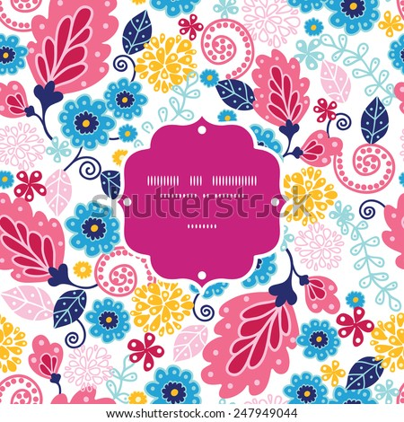 Vector fairytale flowers frame seamless pattern background - stock vector