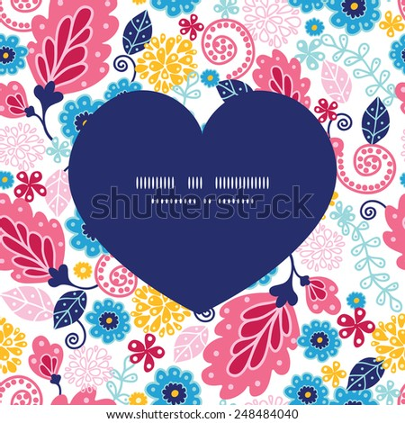 Vector fairytale flowers heart silhouette pattern frame