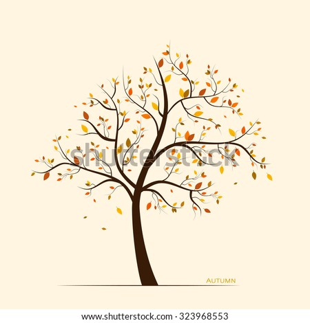 Vector fall, autumn background with colorful leaves on tree