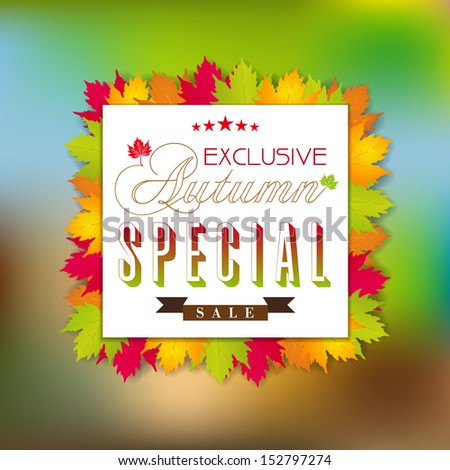 Vector fall autumn sale poster / illustration with colorful leafs - stock vector