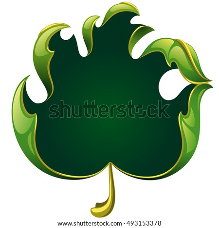 Vector fall green leaf frame in the shape of hand sign ok