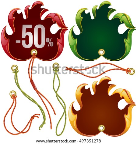 Vector fall leaf sale labels in the shape of hand sign ok set: red, yellow and eco green tags isolated on white background