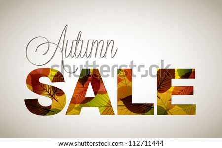 Vector fall sale poster / illustration with colorful leafs - stock vector