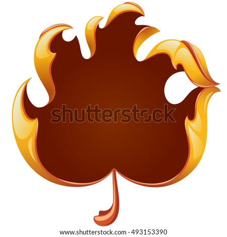 Vector fall yellow leaf frame in the shape of hand sign ok