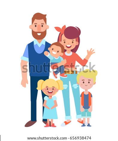 Vector family characters - happy parents with children. Cartoon flat characters good for animation.