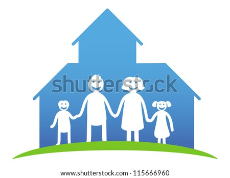 Vector family concept - happy parents and kids near their house - cartoon illustration - stock vector