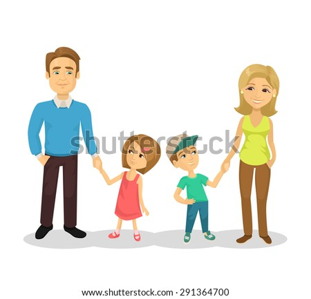Vector family flat cartoon illustration - stock vector