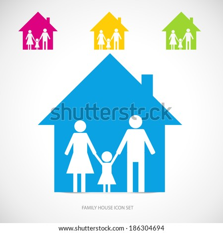 Vector family house icon template. Family living concept. - stock vector