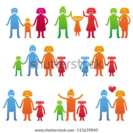 Vector family icons - happy parents with kids - bright illustration - stock vector