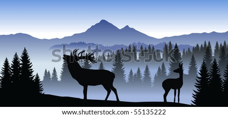 vector family of deer in mountains - stock vector