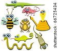 VECTOR - Family of Funny Cartoon Reptile Animals - ( Snake, Chameleon, Cobra, Bee, Crocodile, Frog, Lizard, Gecko) - stock vector