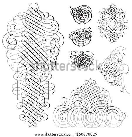 Vector fancy swirl ornament set great stock vector 160890029 vector fancy swirl ornament set great for invitations and announcements stopboris Choice Image