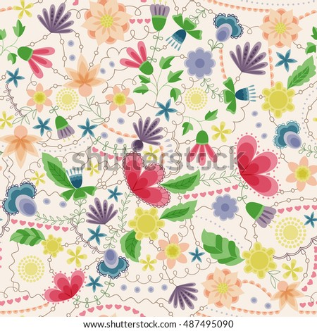 Vector fantasy flowers seamless pattern vintage