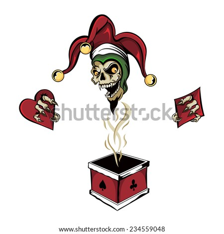 Vector fantasy illustration of a joker vampire zombie skull wearing a clown hat with three gold bells popping out of a magic poker chimney box holding card suits of a heart, diamond, spade and club. - stock vector