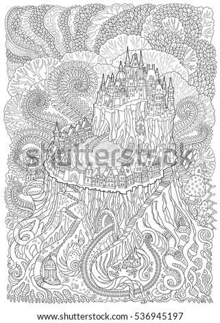Vector Fantasy Landscape Fairy Tale Medieval Castle On A Fantastic Tree Stump Stylized Fern