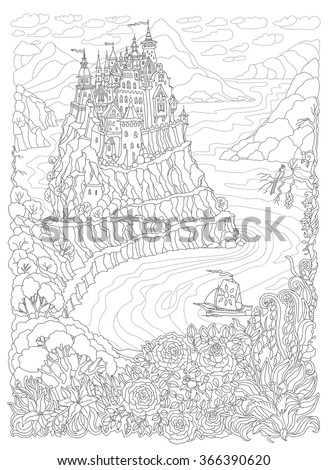 Vector fantasy landscape. Fantasy castle on the hill. Mountain, forest, rose garden, lily flowers.Coloring book page for children and adults. Black and white colors - stock vector
